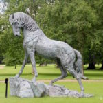 Hamish Mackie's Andalusian Stallion sculpture displayed at Blenheim Palace